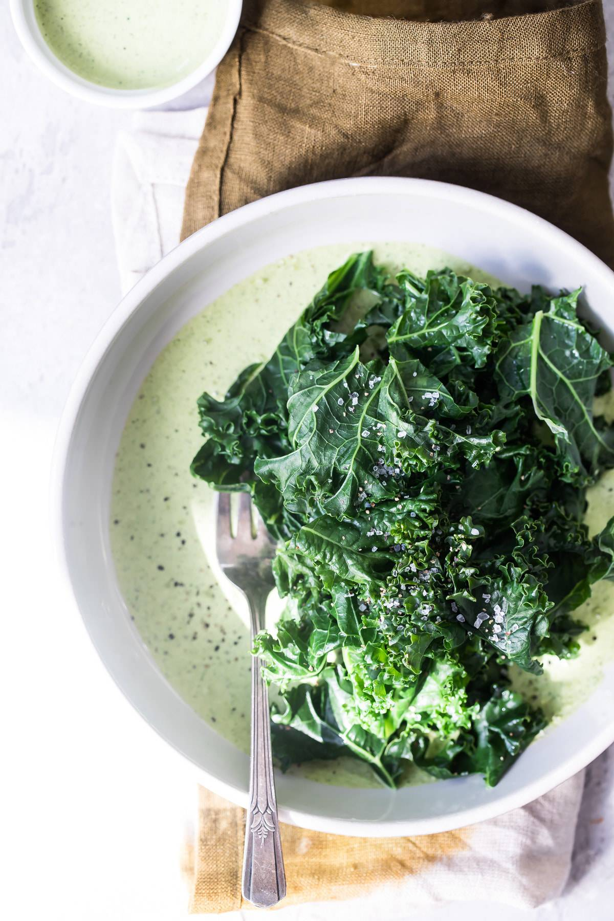 wilted kale with green goddess dressing