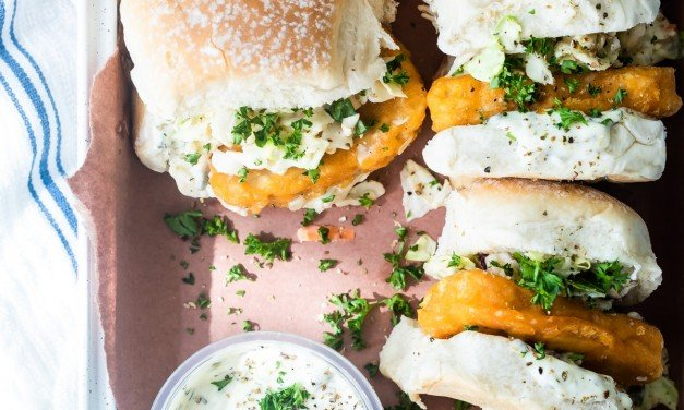 Fishless Filets in Sliders with Tangy Coleslaw