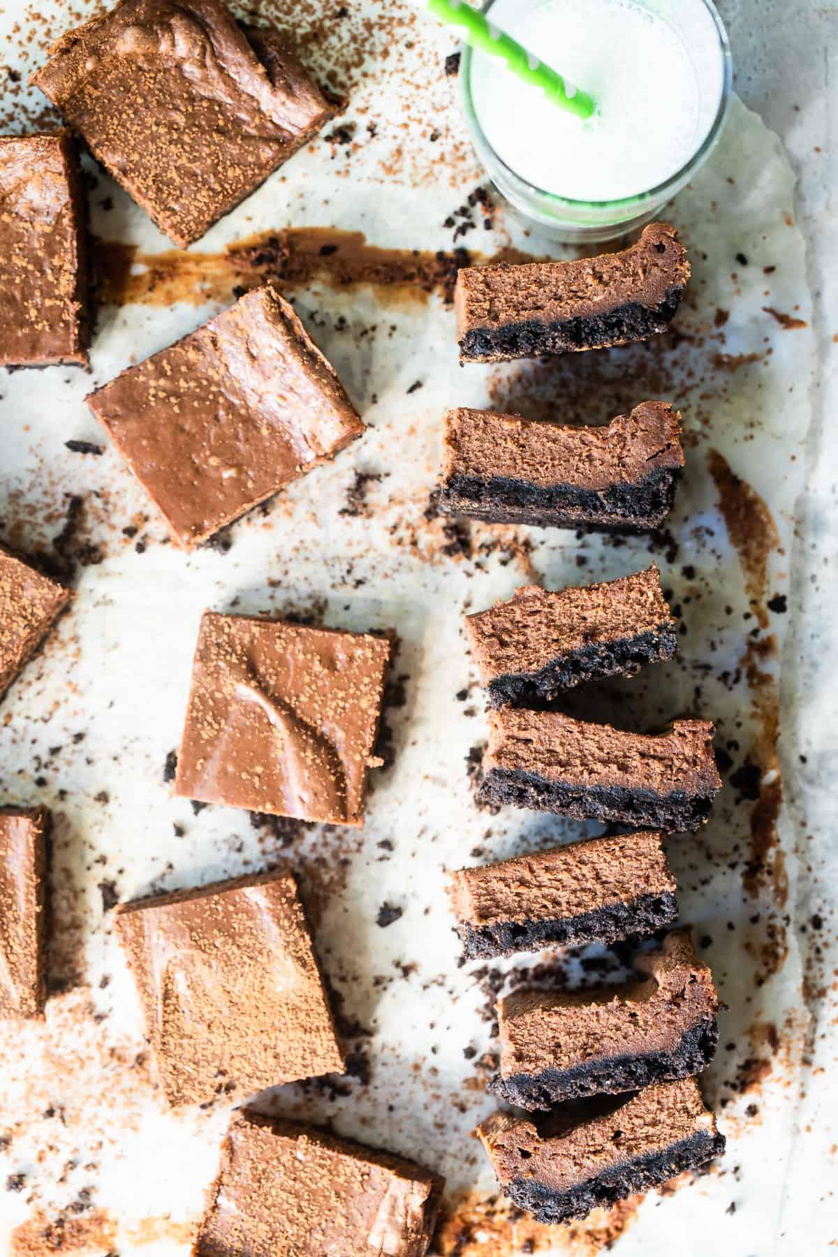 Easy chocolate cheesecake bars with milk