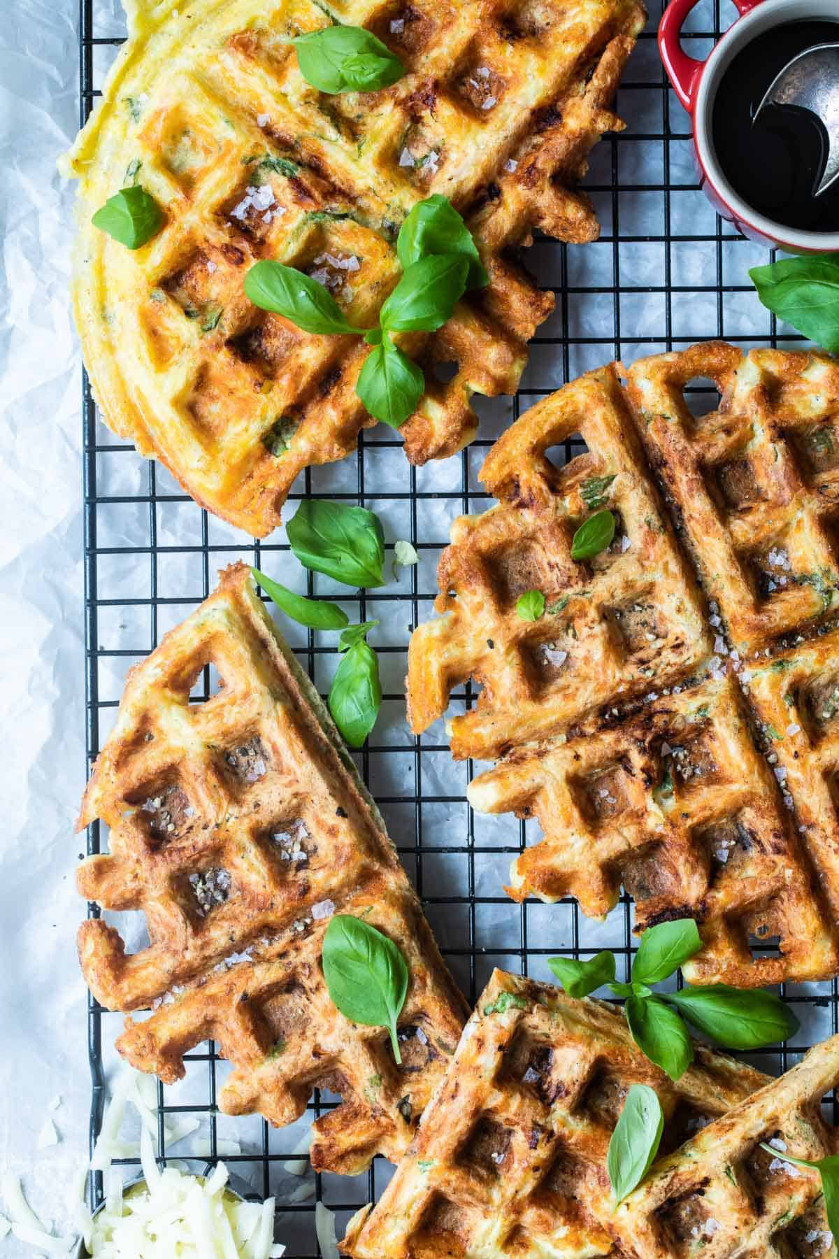 This is an easy keto Chaffle recipe with Chaffles on a wire rack