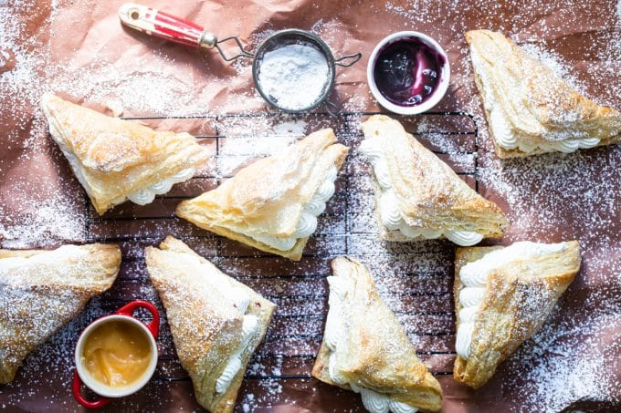 fruit turnovers with whipped cream