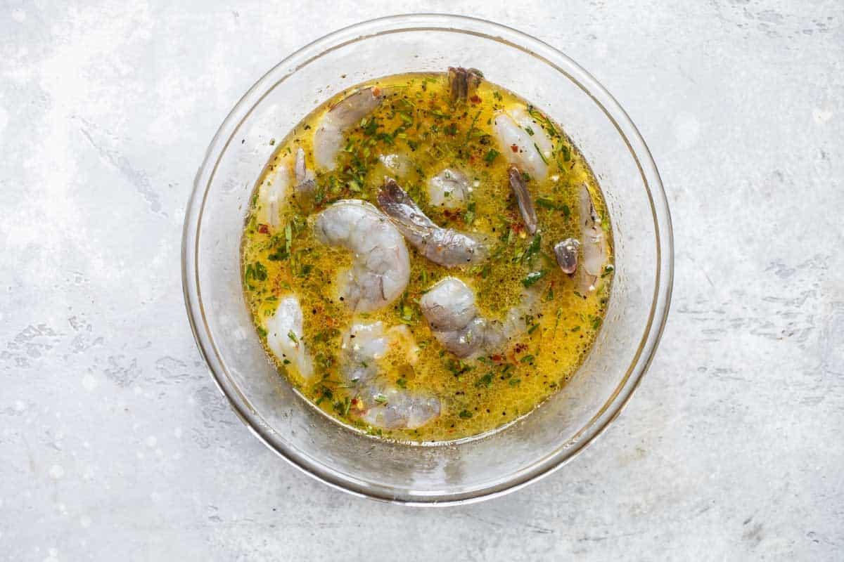 shrimp in a citrus marinade for grilled shrimp skewers