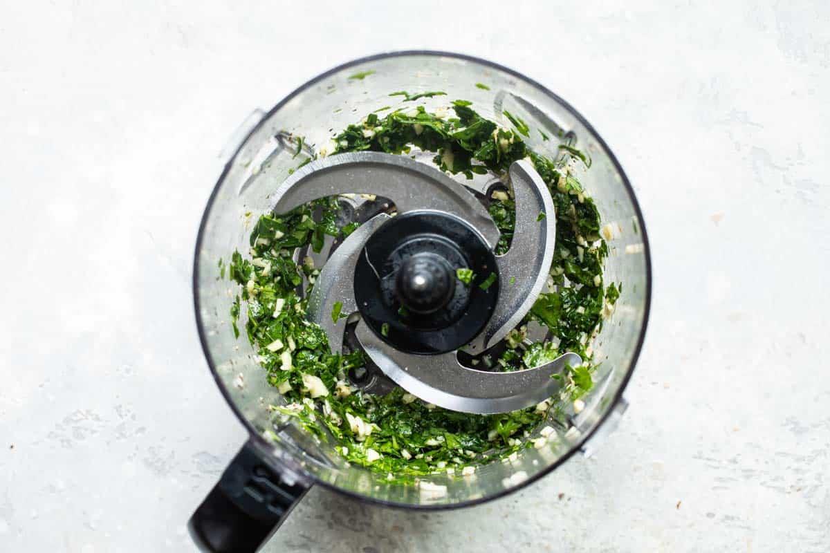 Chimichurri sauce in a food processor