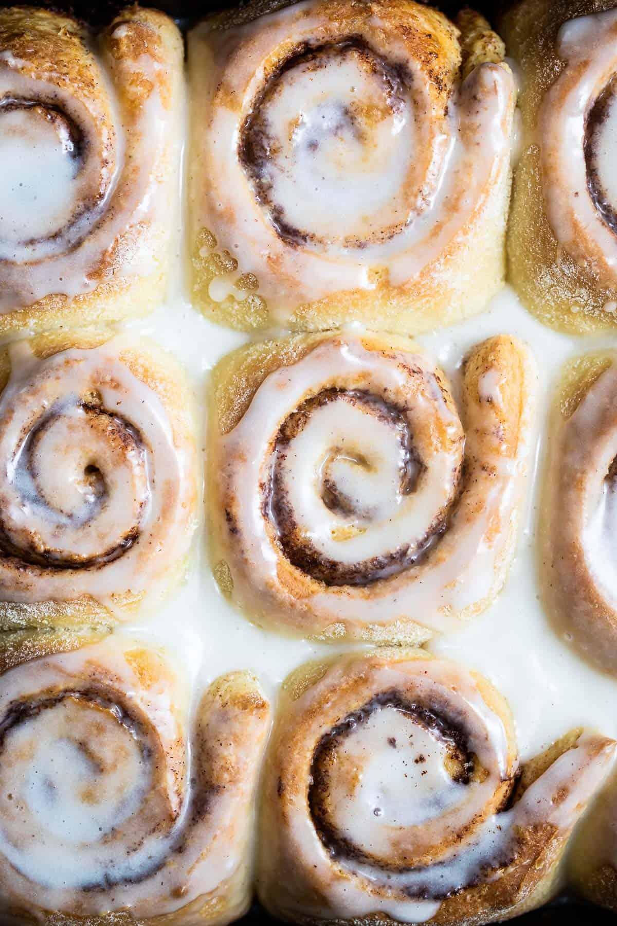 Close up shot of cinnamon buns