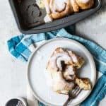 mini cinnamon buns on a plate