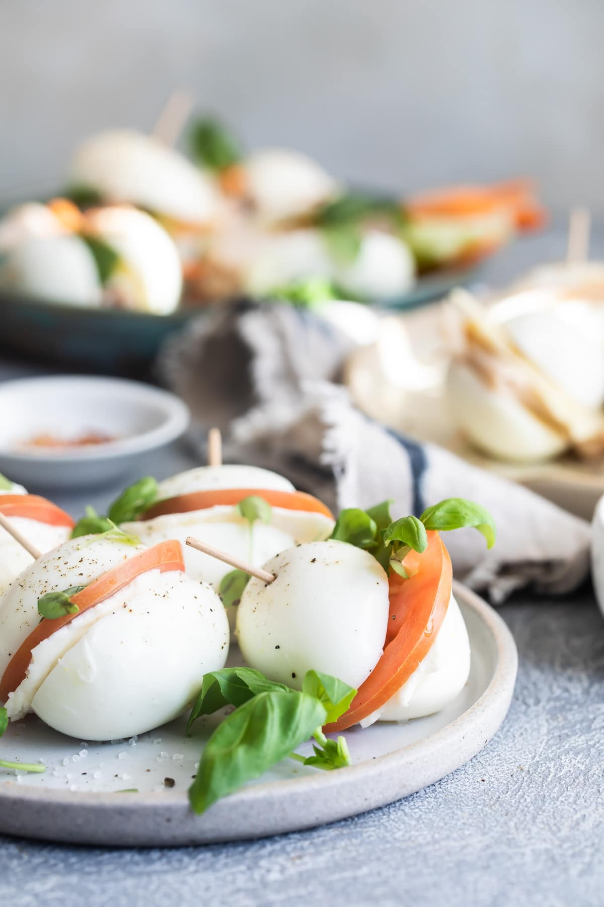 caprese filled egg bun sandwiches