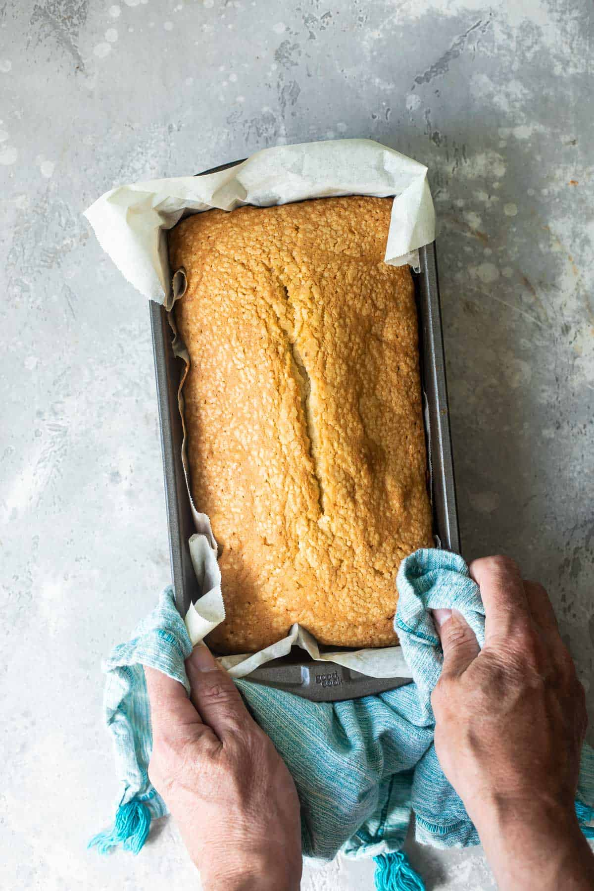 fresh baked pound cake recipe in a loaf pan
