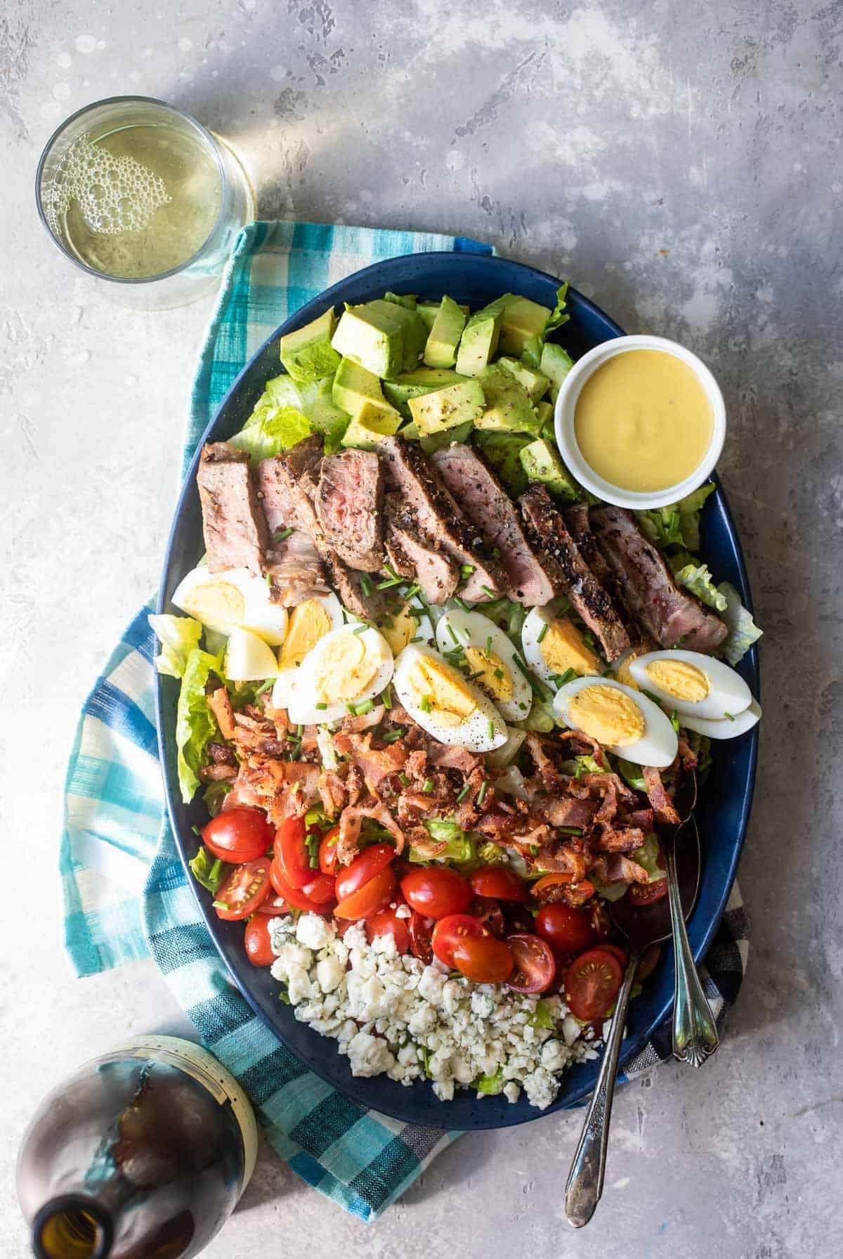 steak cobb salad on a plate
