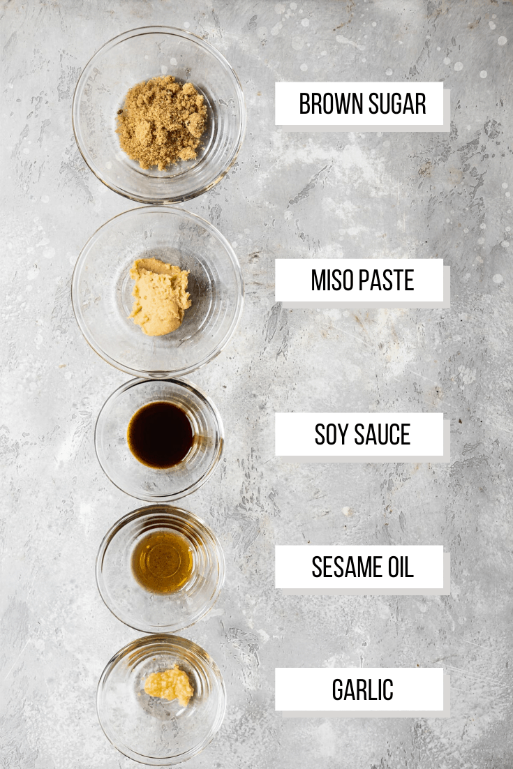 ingredients for miso glaze in small bowls