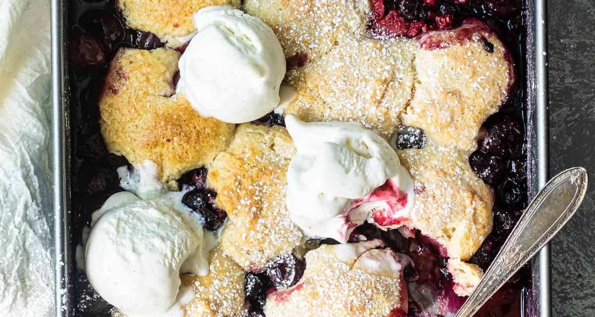 Easy summer berry cherry cobbler