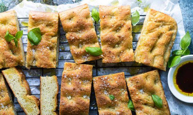 easy focaccia bread with pesto and parmesan
