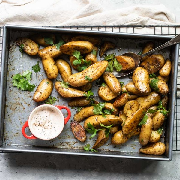 Roasted Fingerling potatoes with chipotle crema