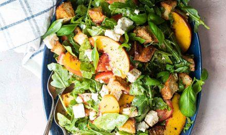peach and feta panzanella salad recipe