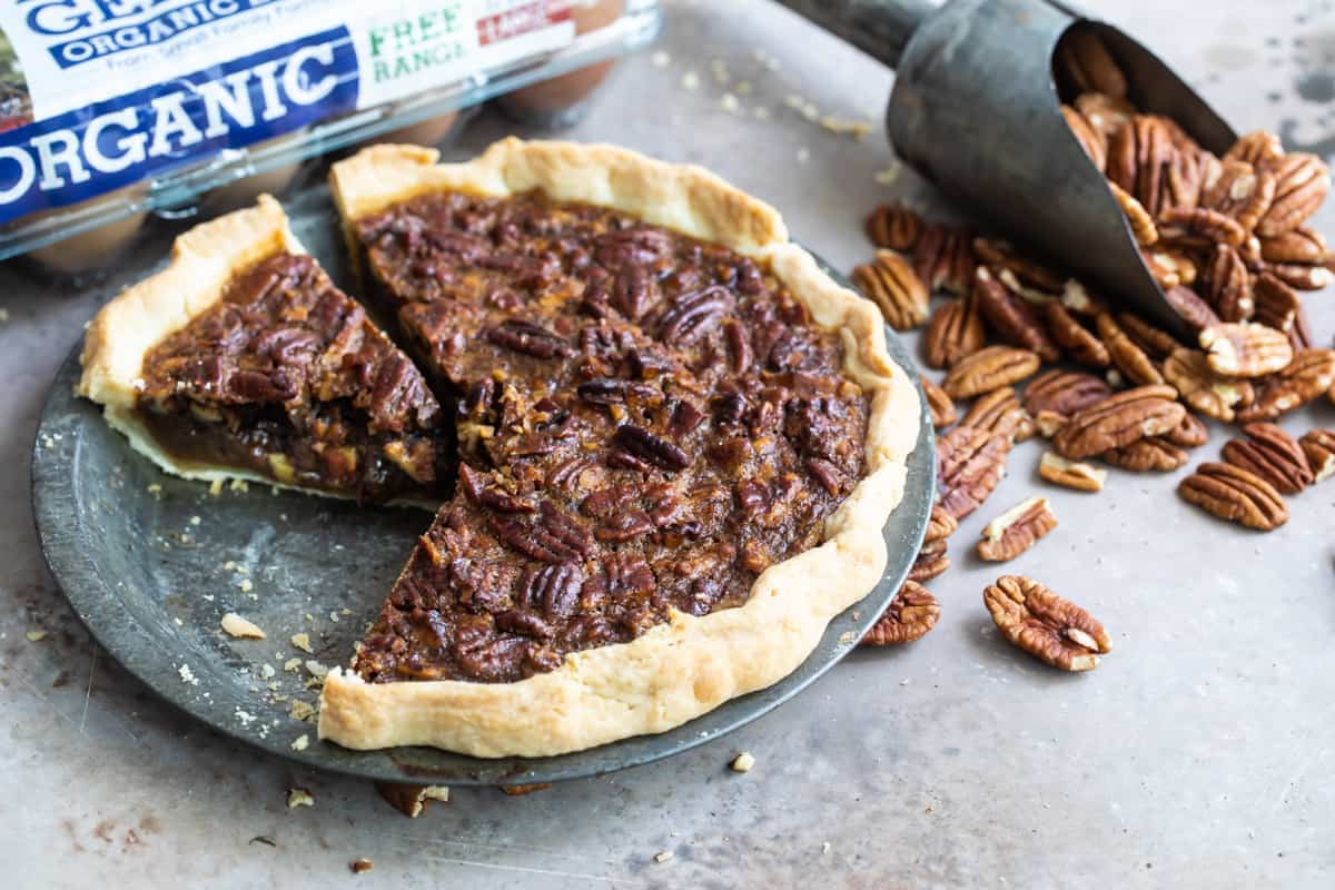 a slice of bourbon pecan pie