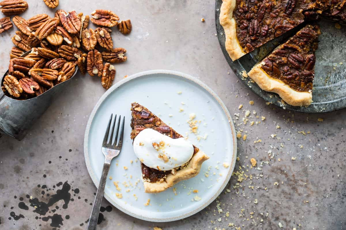 slice of pecan pie with bourbon on a plate