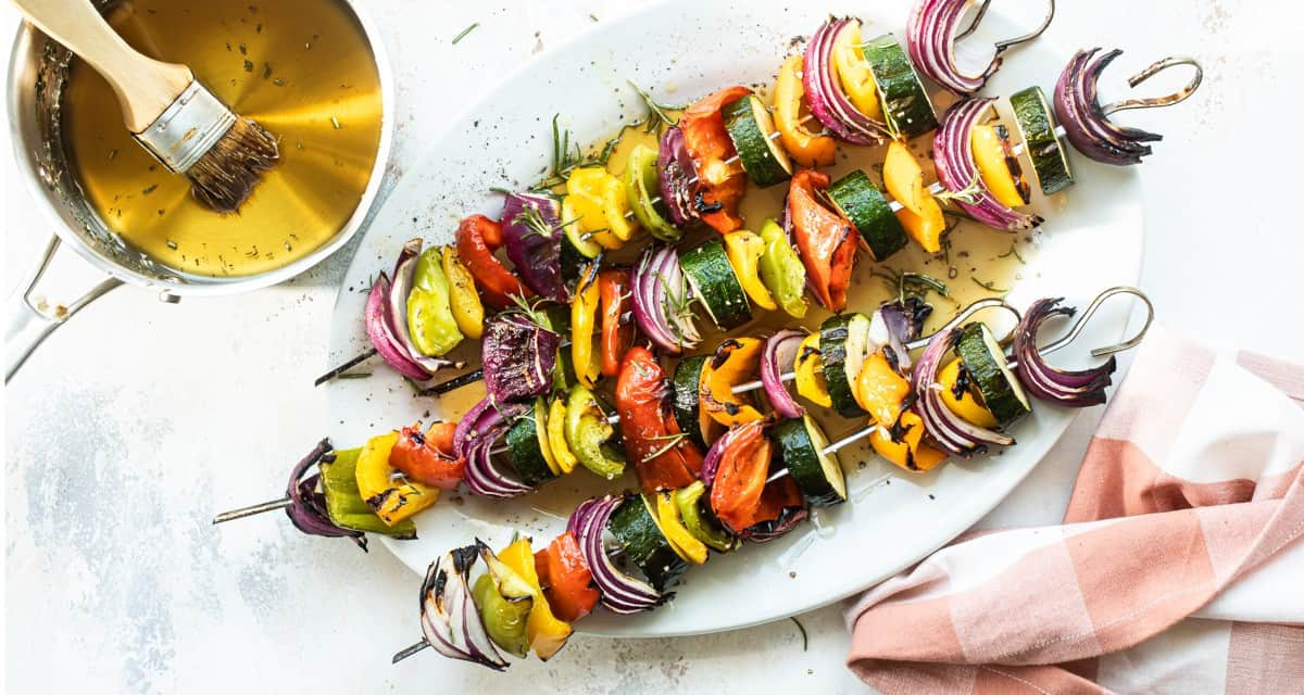 Veggie Kebabs with Maple Rosemary Glaze