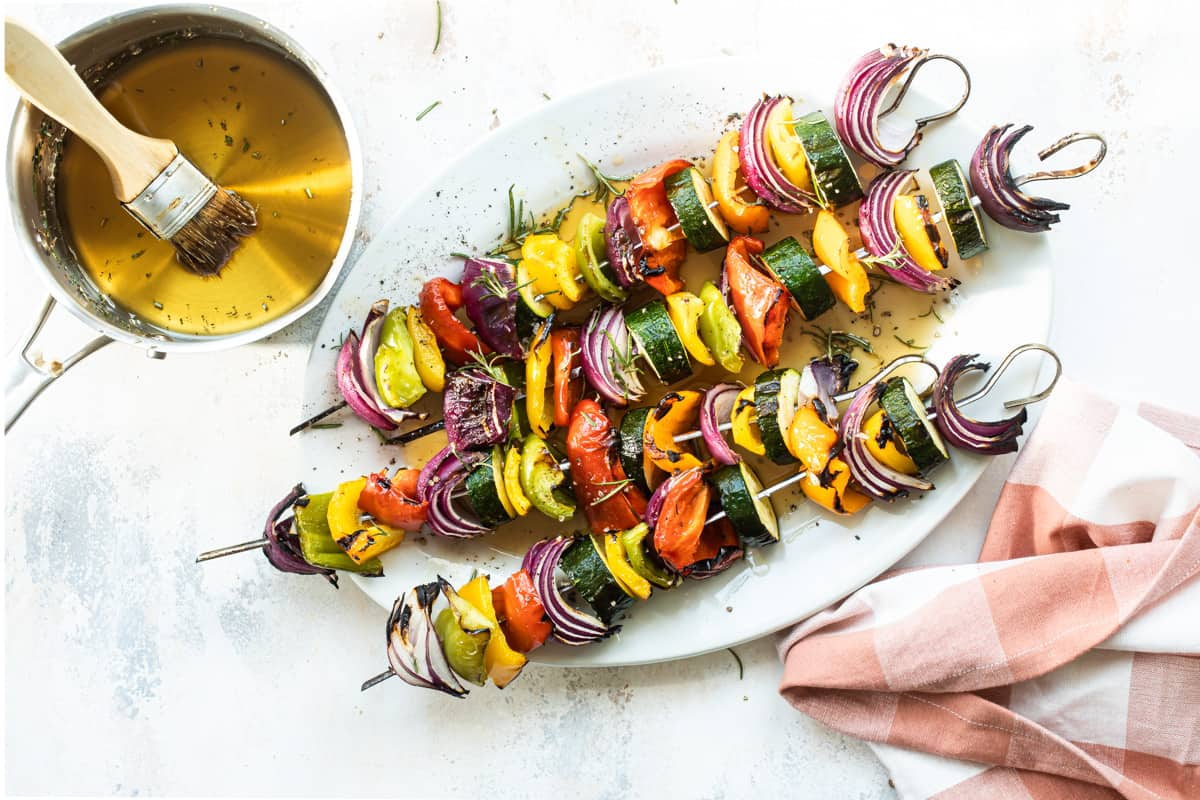 Veggie Kebabs with Maple Rosemary Glaze