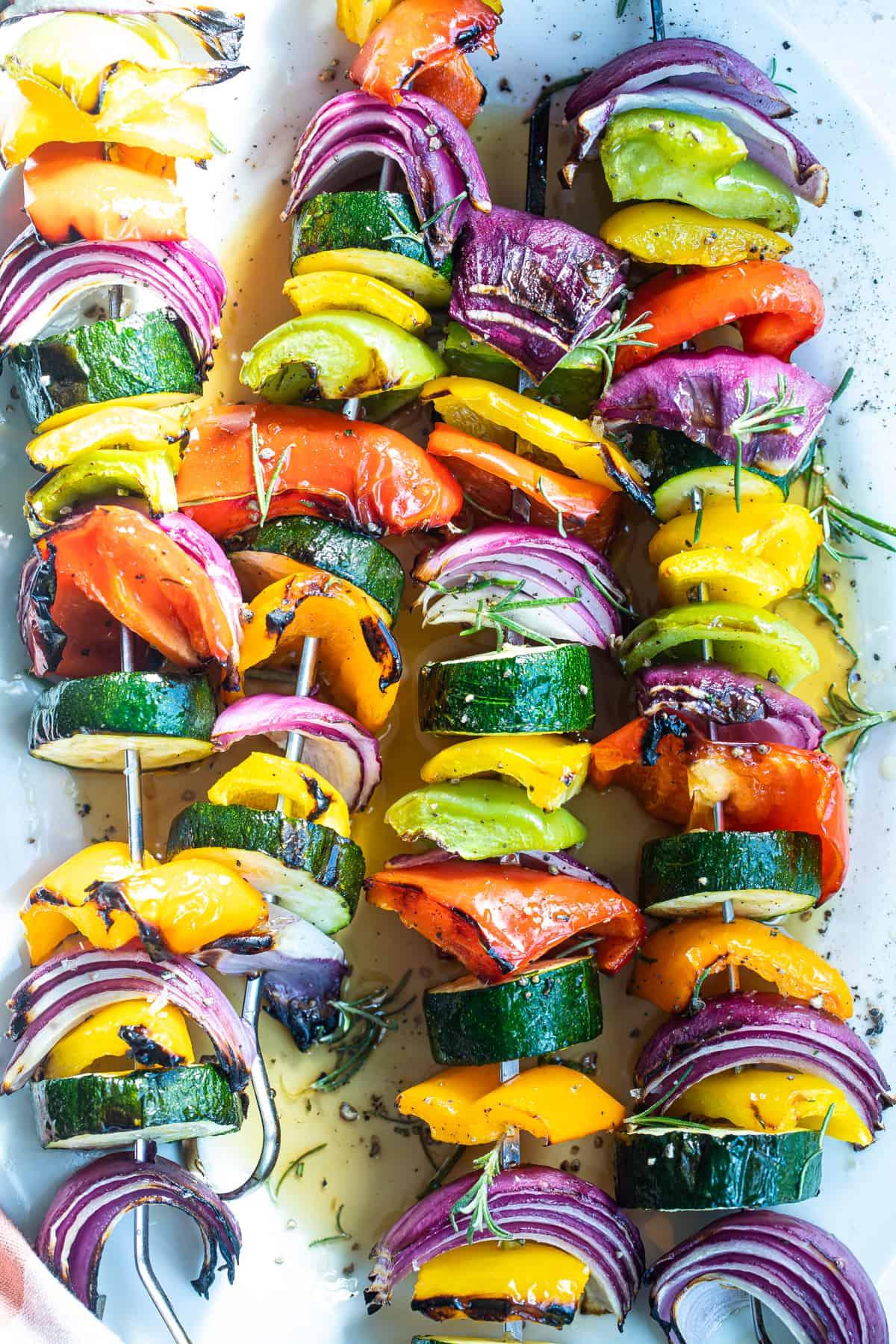 close up shot of veggie kebabs