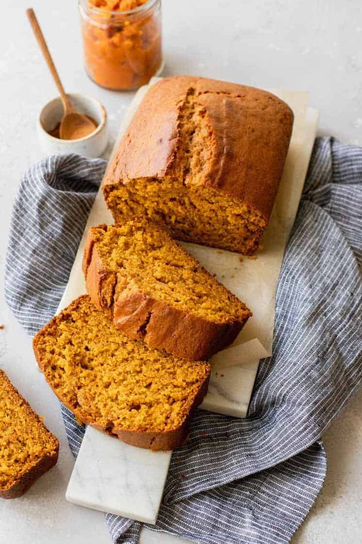 thick wedges of pumpkin bread