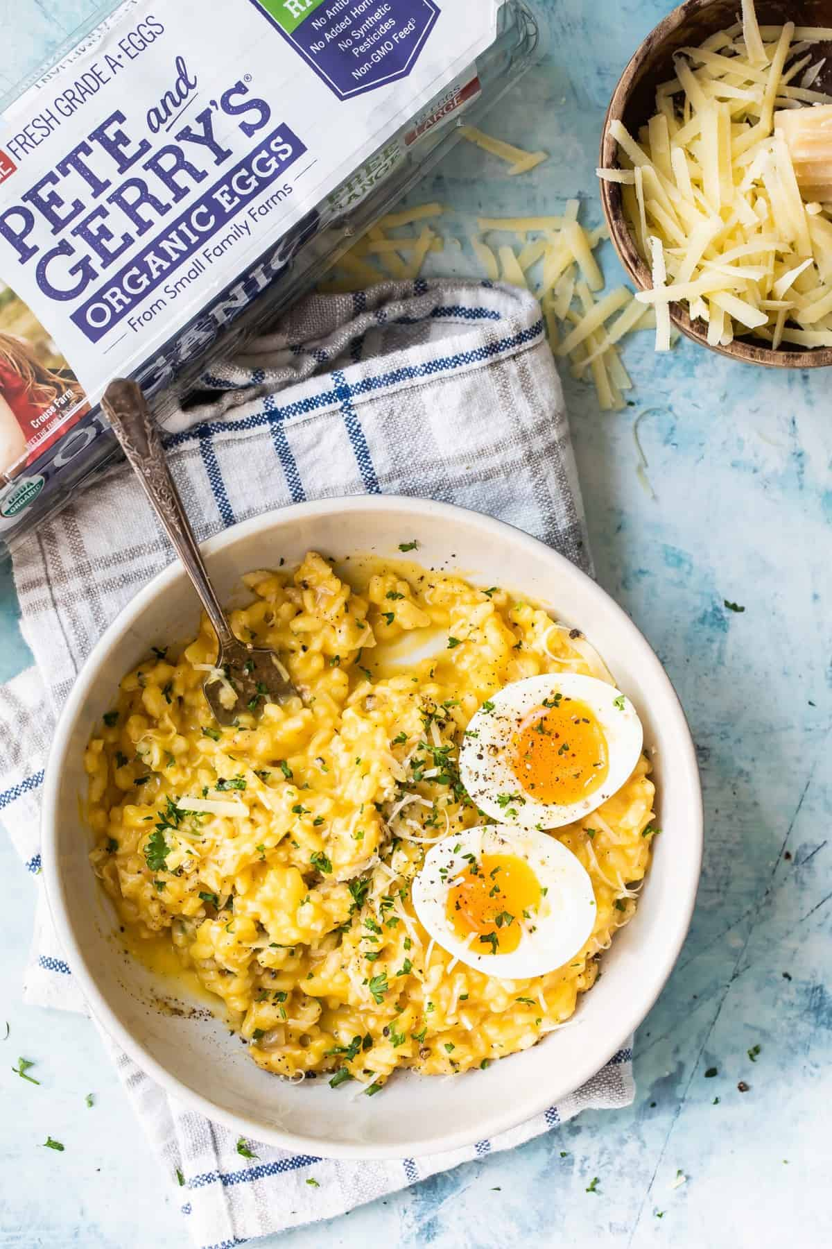 butternut squash risotto with a soft boiled egg on top