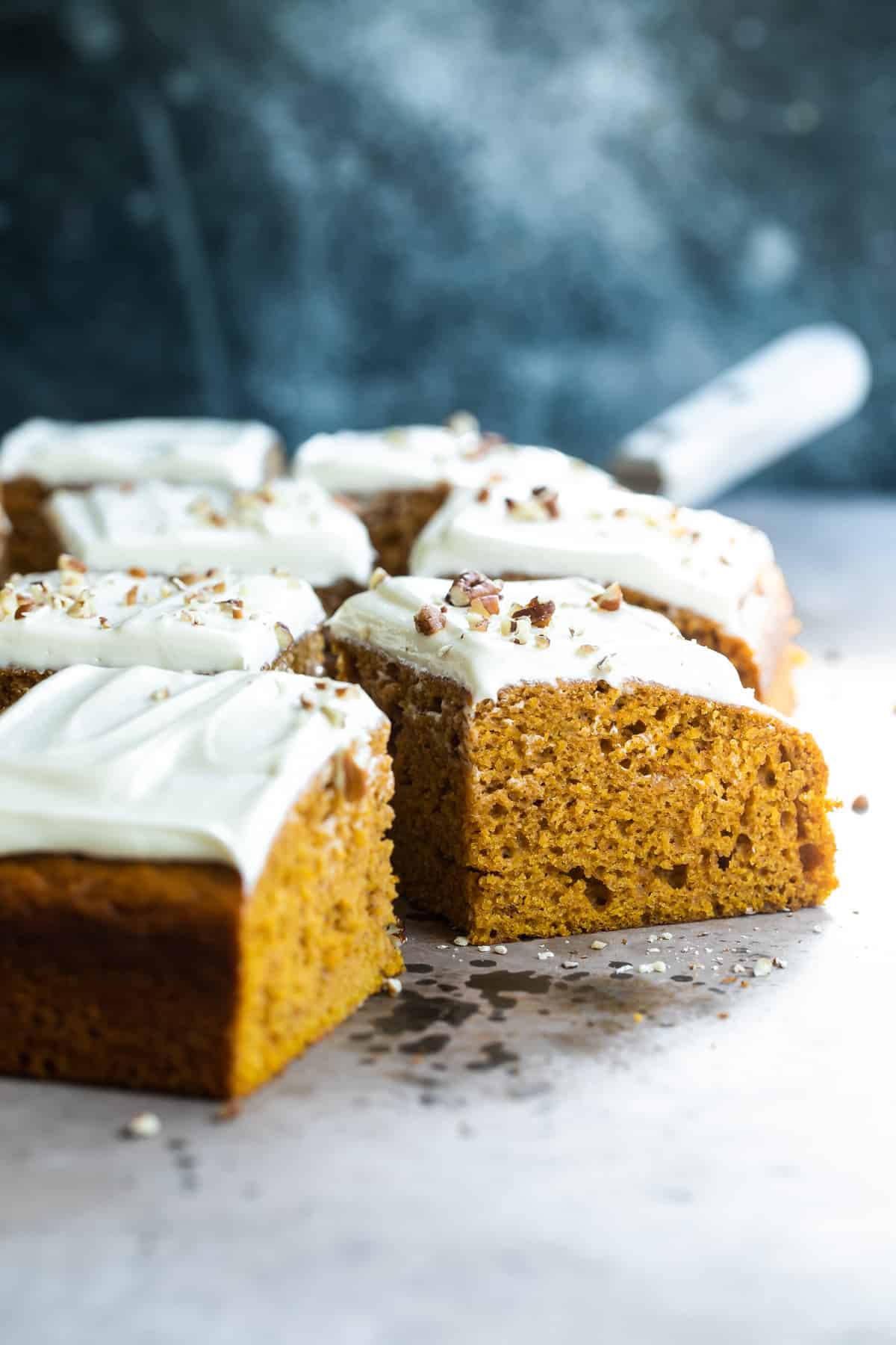Pumpkin cake squares with cream cheese frosting