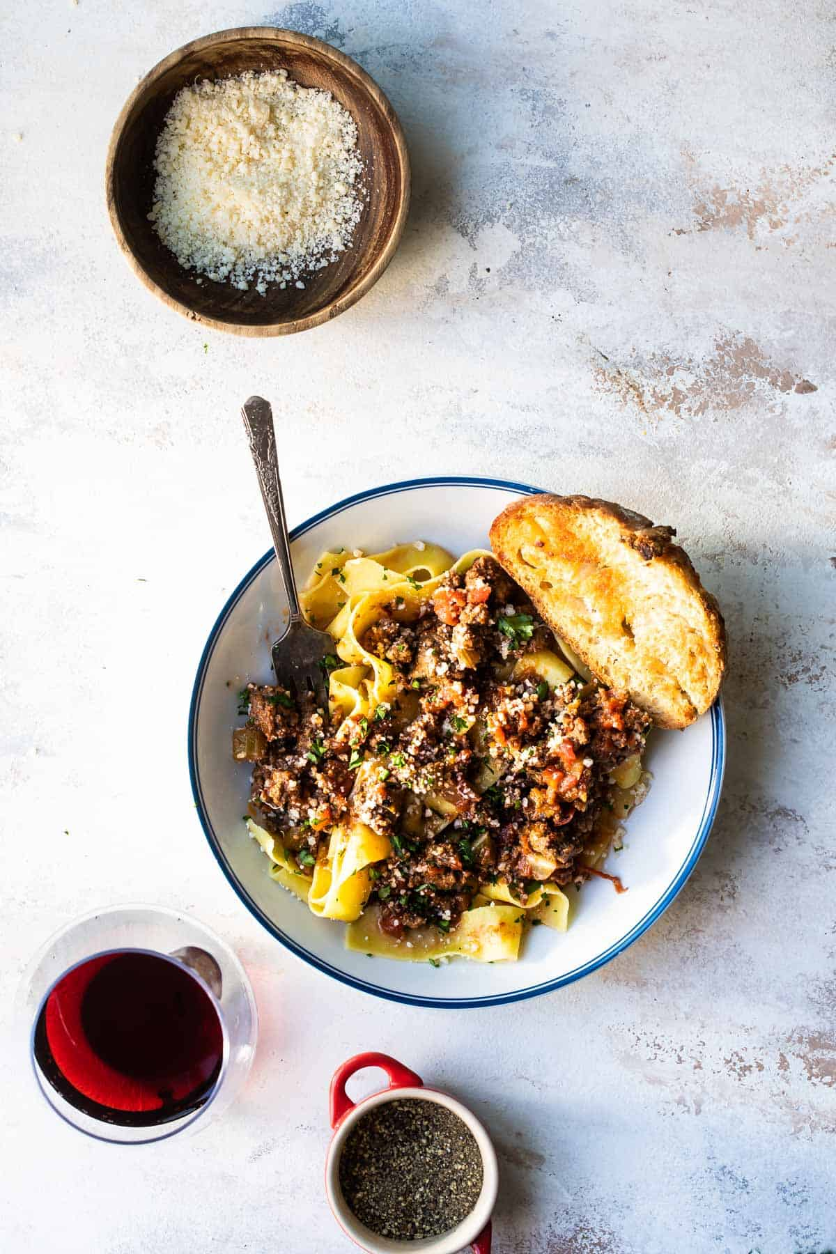beef ragu with pappardelle pasta on a plate