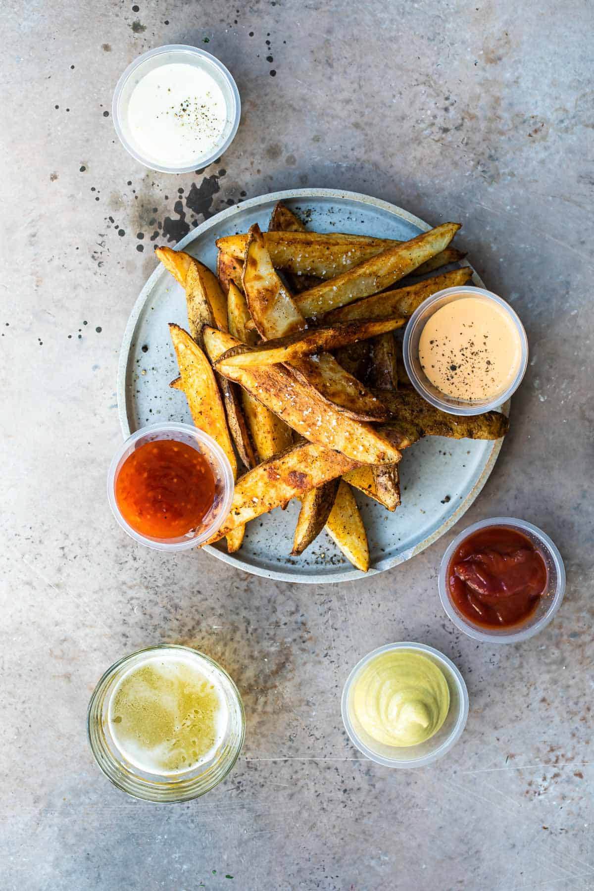baked potato wedges served with various dipping sauces