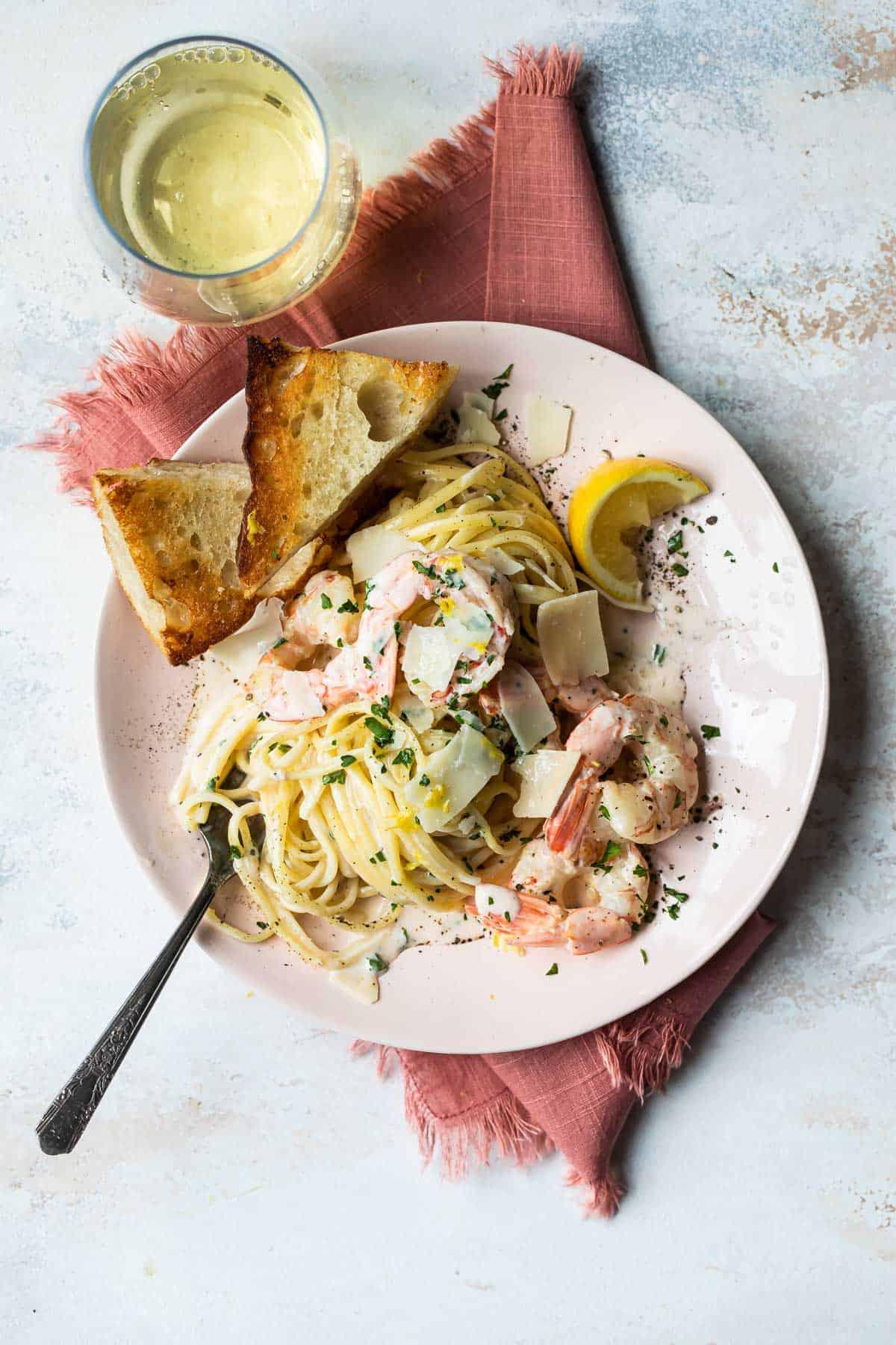 lemon shrimp pasta with Parmesan cream sauce.