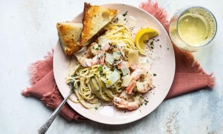 Lemon Pasta with Shrimp and Parmesan