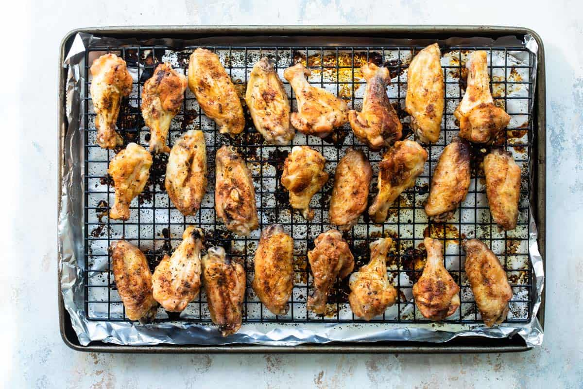 chicken wings on a wire after baking