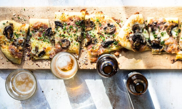 Flat Bread Pizza with Mushrooms and Salami