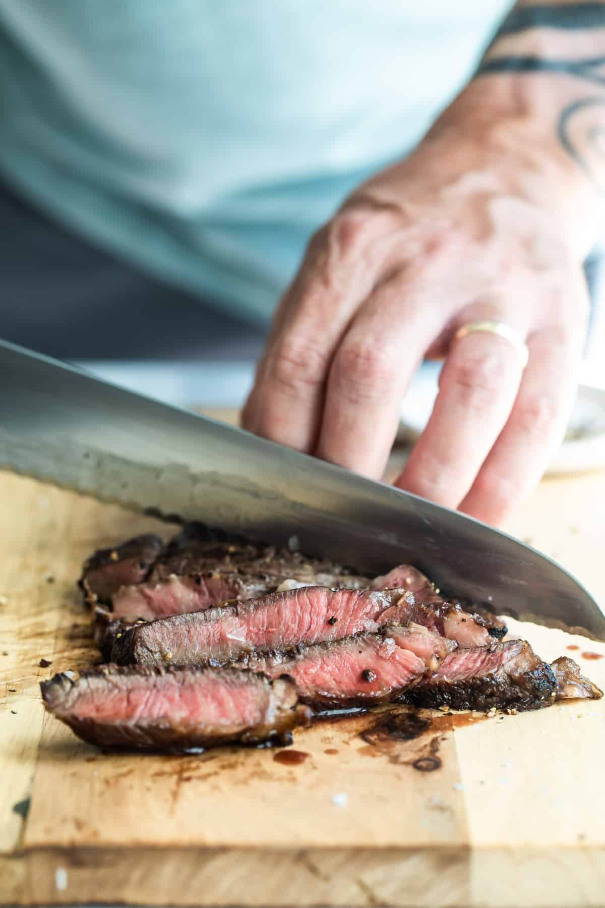 showing how to grill a ribeye steak