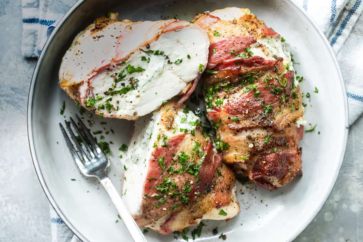 Boursin Stuffed Chicken breasts wrapped In Bacon