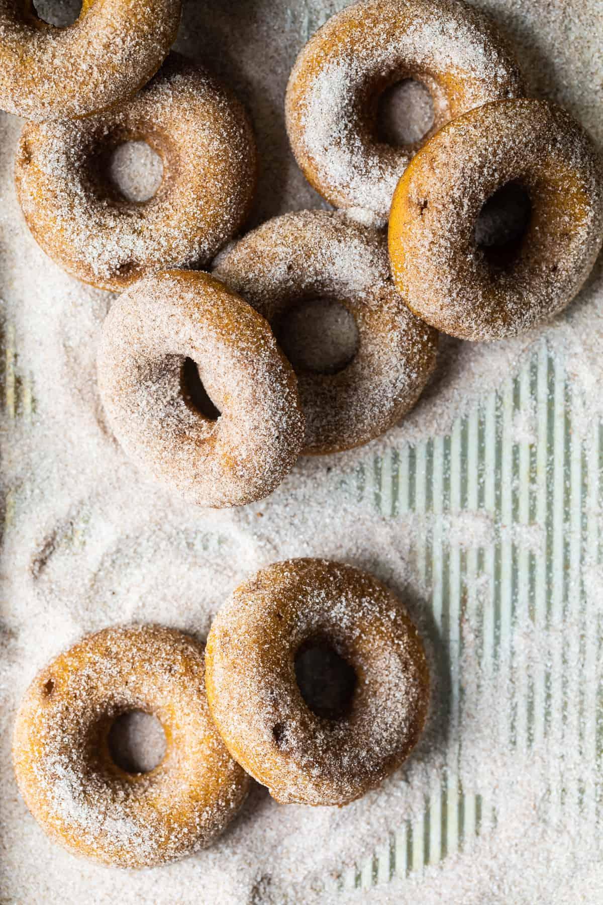 sugar doughnuts on a tray